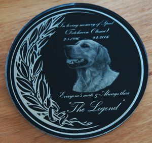 Memorial plaque circular acrylic reverse printed or engraved