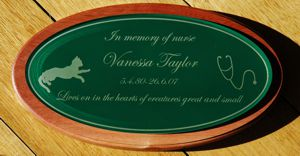Red gum memorial plaque with printed or engraved face plate