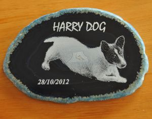 Black agate memorial stone engraved Dog photo and text