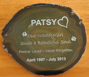 Pet rock memorial in dull green agate engraved graphics and text