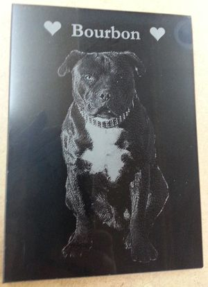 Dog memorial plaque Black marble 200 x 140 mm