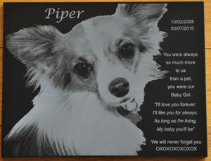 Pet memorial plaque black marble 300 x 200 mm
