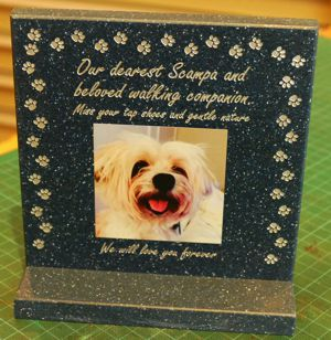 Dog memorial on desk stand corian stone black quartz with colour print and gold engrving