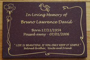 Memorial plaque corian pompei rust red with gold engraving