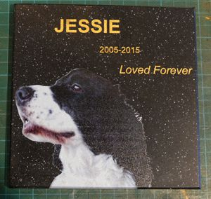 Dog memorial plaque corian stone 140 x 140 mm gold engraving Colour photo print
