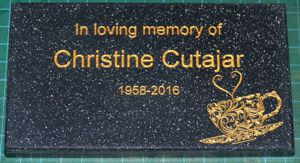 Memorial plate engraved corian stone black quartz gold fill
