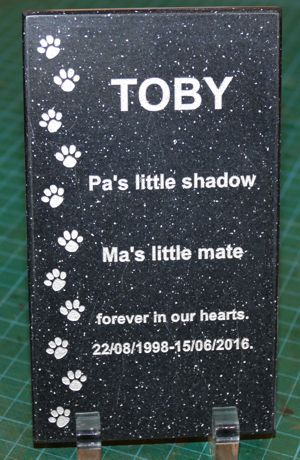 Memorial plate on stand engraved corian stone black quartz fill silver