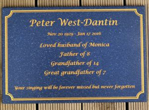 Memorial Plate Corian stone cobalt engraving with gold fill