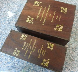 Wine box set engraved in jarrah timber boxes with gold fill in engraved box