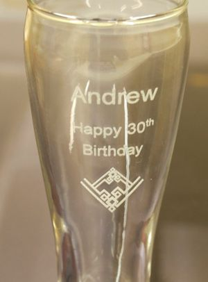 Pilsner beer glass engraved