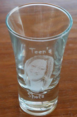 Shot glass 57 ml with photo engraved