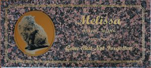 Memorial stone pink granite engraving with gold fill Gold engraved plate with photo