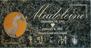 Green granite memorial engraving gold fill with mounted engraved photo