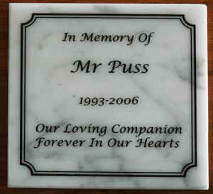 Marble memorial plate white carera marble engraving with black fill
