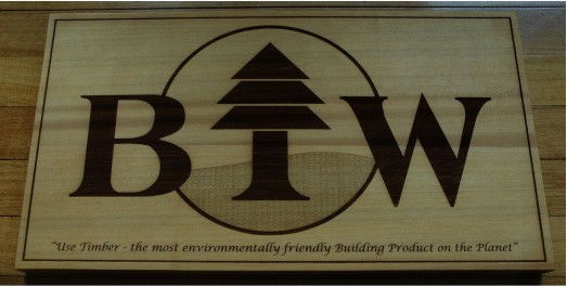 Western red cedar with company logo engraved