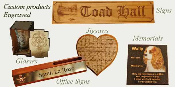 Engraved examples sign, glass, desk sign, jigsaw, memorial