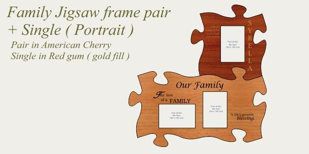 Family photo frames pair in cherry + single frame Red gum