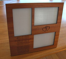"Timber engraved Photo Frame 3 x 150 x 100 mm ( 6"" x 4"" ) Photo 2 text"