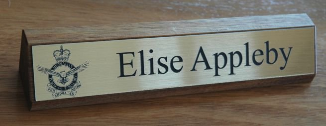 Desk Name Plate Timber 250 mm long