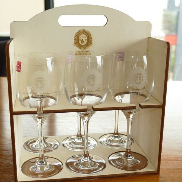 Wine glass 350 ml set 6 timber carry box