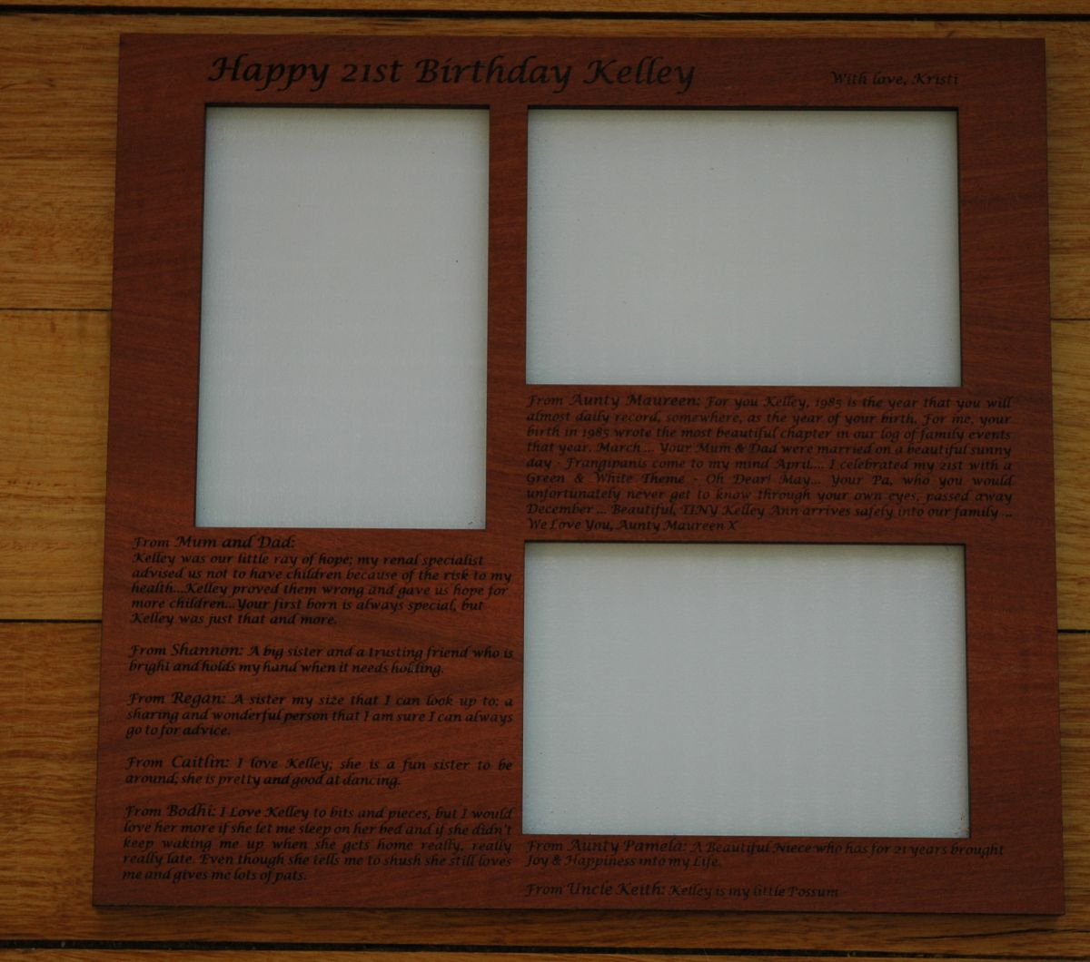 Thumb_Red gum photo frame engraved 3 photo's