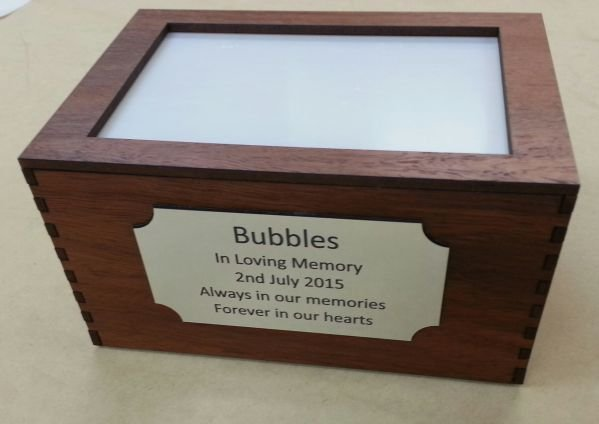 Wooden pet urn cremation box small
