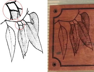 Red gum laser engraved with image as dots