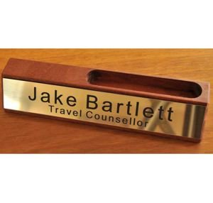 Desk Name Plate Card Holder Timber 150 mm long
