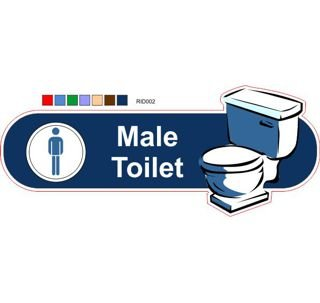 Male toilet Dark blue ID sign