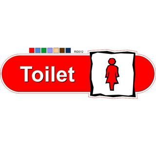 Female symbol toilet ID sign