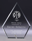 Glass award diamond 200 mm with chrome foot