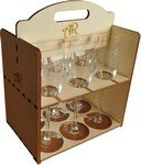 Wine glass set in timber carry box
