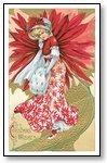 Christmas Cards woman in red Christmas wishes 006