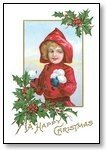 Christmas Cards Girl in red hood snowballs 008