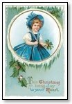 Christmas Cards Girl in blue holly window  009