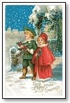 Christmas Cards boy and girl singing in the snow 012