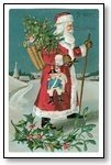 Christmas Cards santa in snow with holly 013