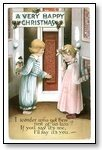 Christmas Cards Girl and boy at door 016