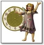 New Year clock with girl in lavender dress 002