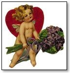 Cupid with heart and lavender flowers Valentine 014