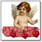 Valentine cupid in pink wreath and hearts  021