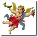 Valentine cupid with red clothing and blue banner 032