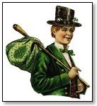 St Patricks Day Man with bowler hat and green swag and coat 090