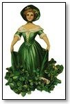 St Patricks Day woman in green floral dress 091