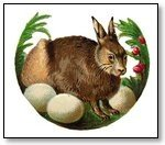 Easter bunny in circle with eggs 111