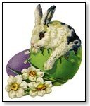 Easter bunny with egg and white flowers 124