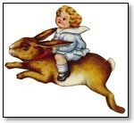 Easter cherub on rabbit  125