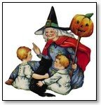 Halloween witch and children and punmkin on pole 190