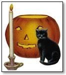 Halloween cat and candlestick 192