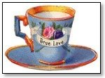 Tea cup and saucer blue 080